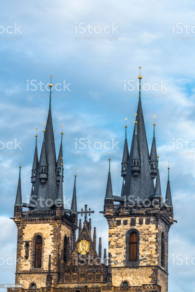 The spires of the týn Church. stock photo