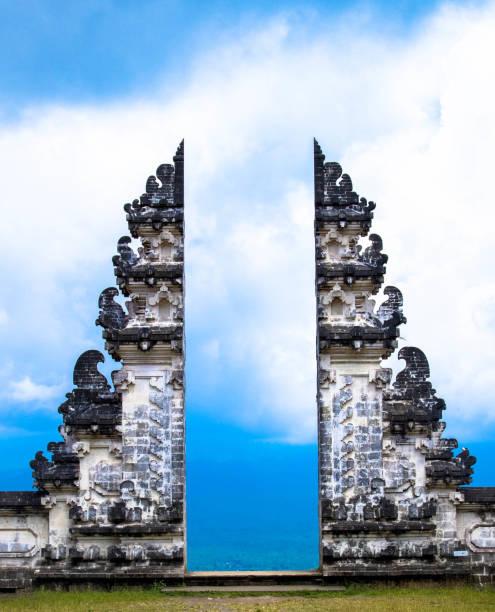 The split gate to Heavens in Pura Lempuyang temple, Bali, Indonesia. stock photo