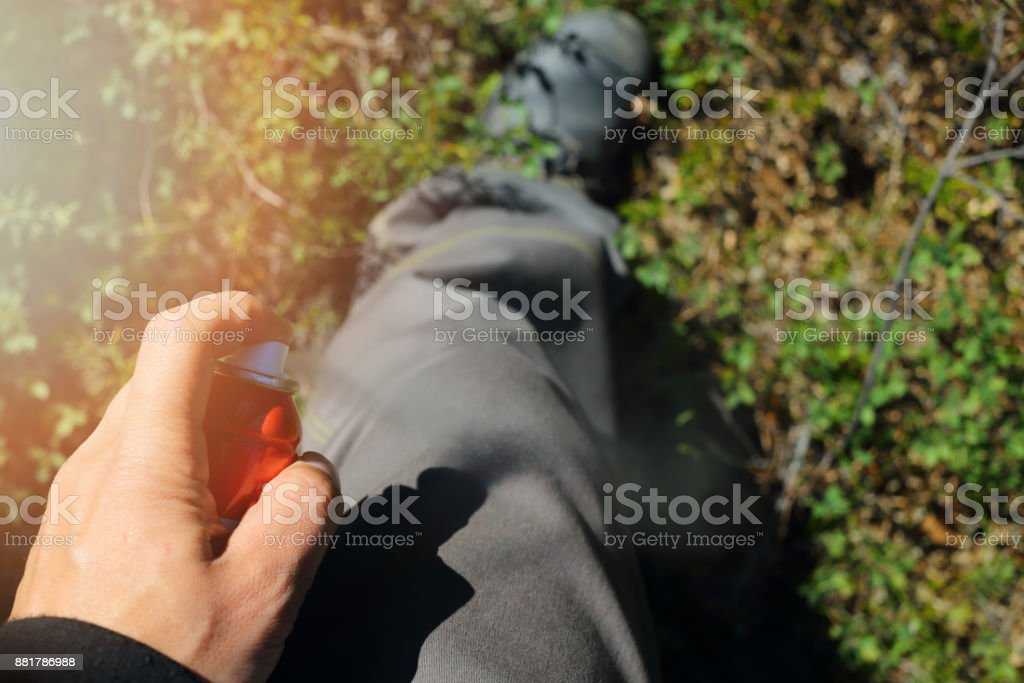 The spray from insects on pants stock photo