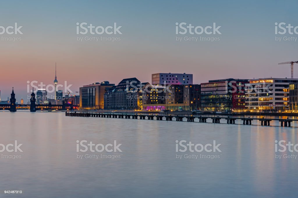 The Spree river in Berlin after sunset stock photo