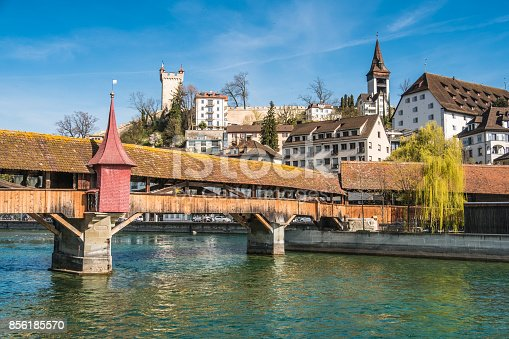 istock The Spreuer Bridge (Spreuerbrücke, formerly also Mühlenbrücke) one of two extant covered wooden footbridges in the city of Lucerne, Switzerland. 856185570