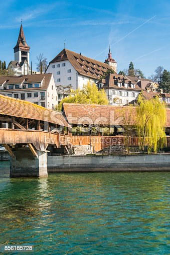 istock The Spreuer Bridge (Spreuerbrücke, formerly also Mühlenbrücke) one of two extant covered wooden footbridges in the city of Lucerne, Switzerland. 856185728