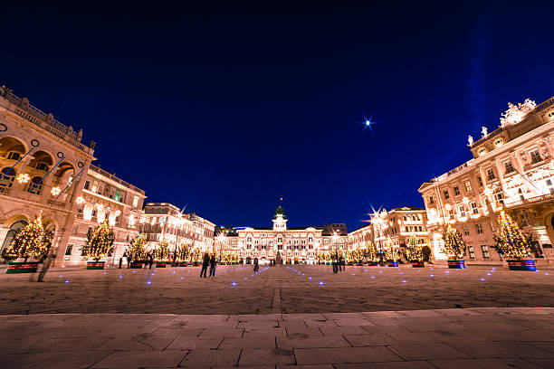 the square of trieste during christmas time - italienischer weihnachten stock-fotos und bilder