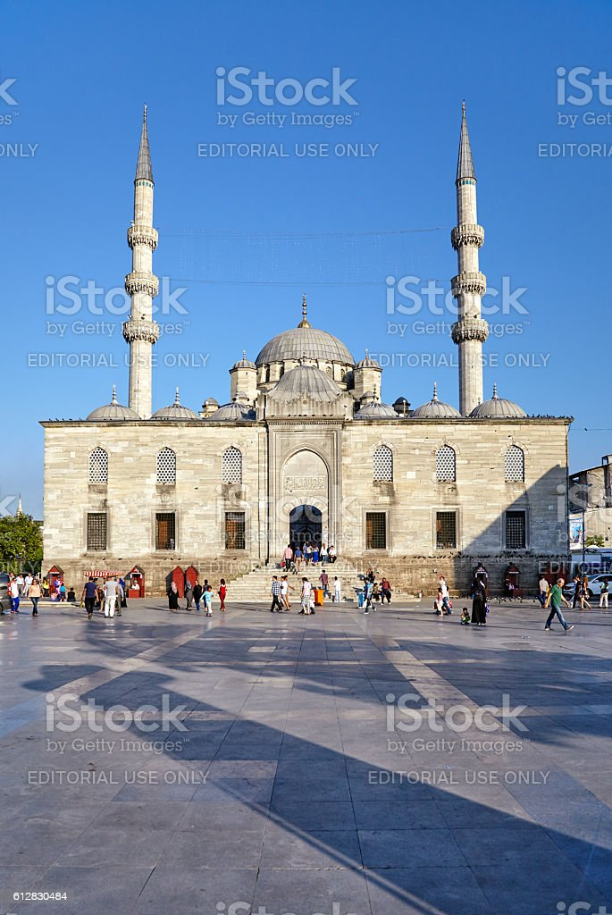 The square with the shadows of the Rustem Pasha Mosque stock photo