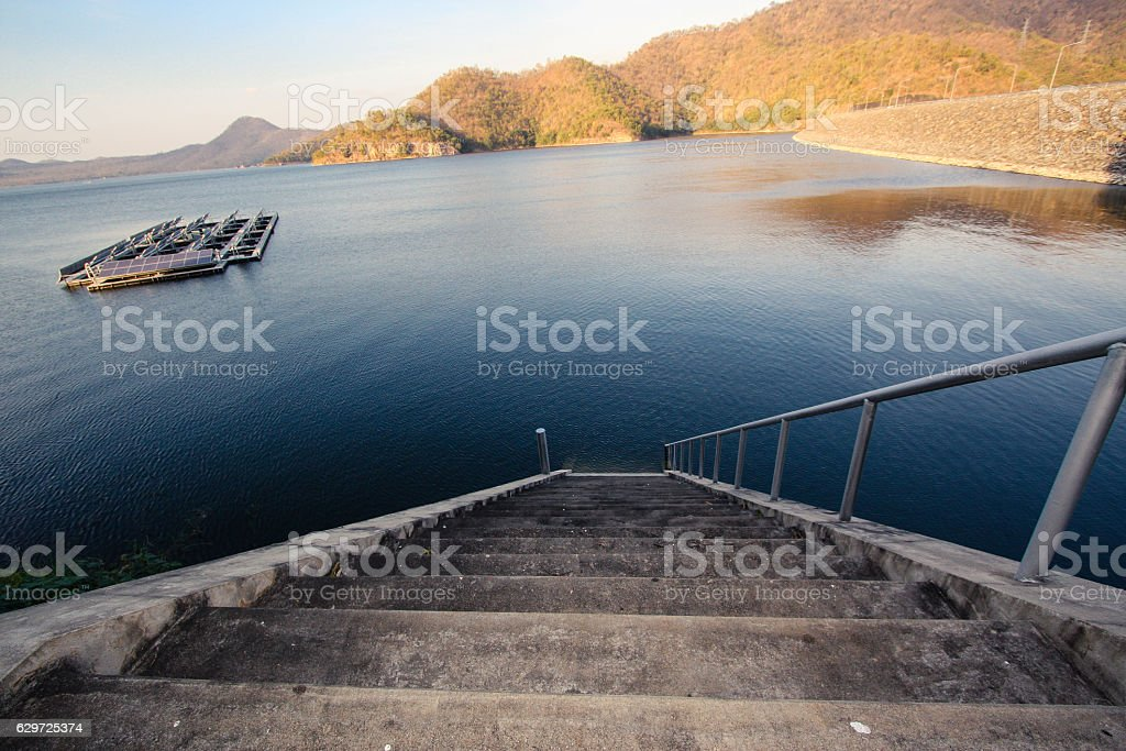 The Srinagarind Dam is an embankment dam onKanchanaburi Province, Thailand. stock photo