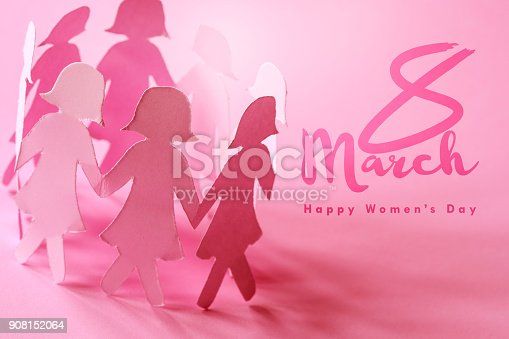 istock The SSweet pink  girl paper doll on pink background  for Happy  Women ' s day symbol to promote  in 8 march month campaign 908152064