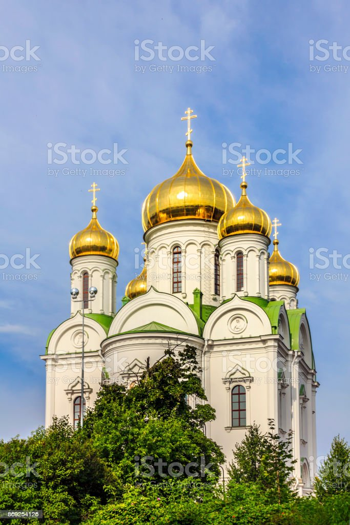 The St. Catherine Cathedral - Russian Orthodox church near Tsarskoye Selo in Pushkin, Saint-Petersburg, Russia. stock photo