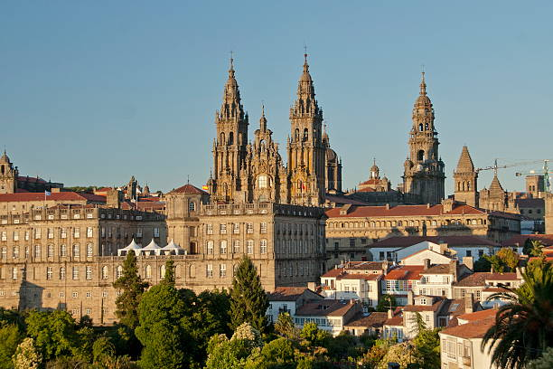 The St. James Cathedral in Santiago de Compostela, Spain. stock photo