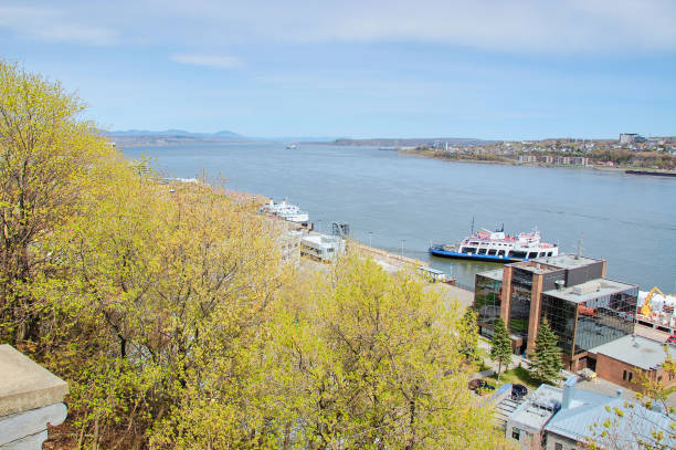 The St. Lawrence River seen from Quebec City. stock photo
