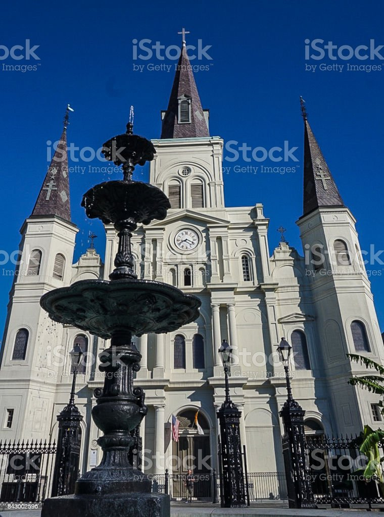 The St Louis Cathedral in Jackson Square in the French Quarter of New Orleans, Louisiana stock photo