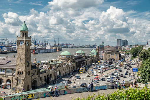 Hamburg / Germany - July 14, 2017: The St. Pauli Piers, German: St. Pauli Landungsbrucken, are one of Hamburg's major tourist attractions