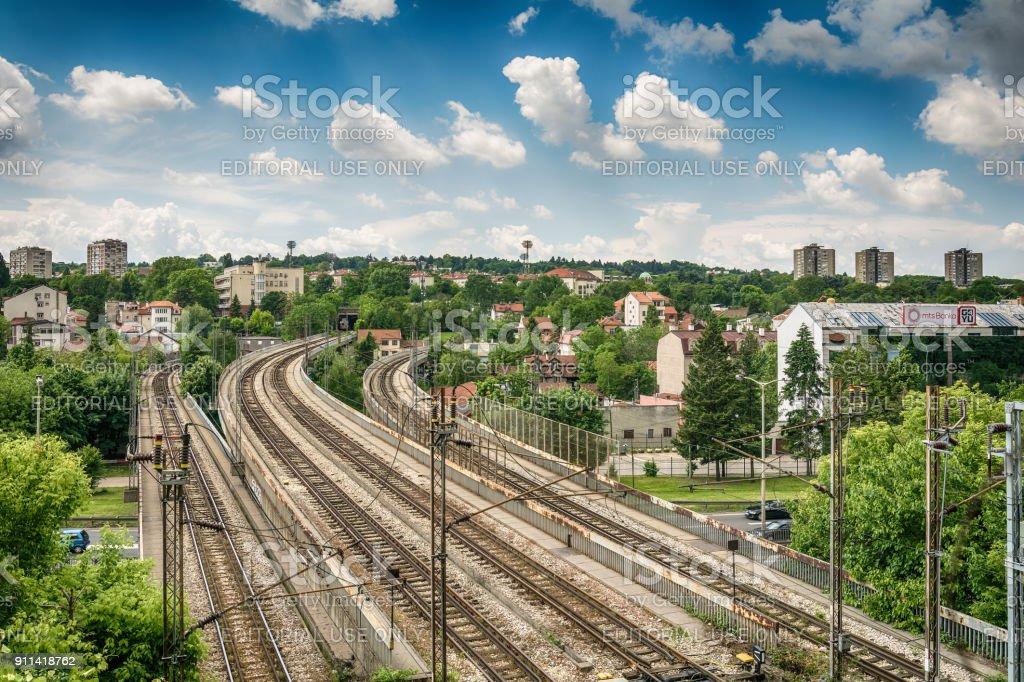 The stadium of the football club Partizan and the Belgrade metro railroad stock photo