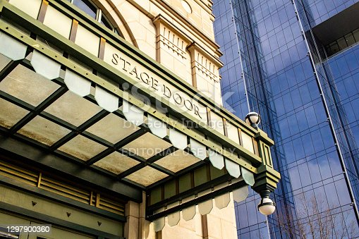 Nashville, Tennessee, U.S. - January 21, 2021: The Stage Door at The Schermerhorn Symphony Center in downtown Nashville.