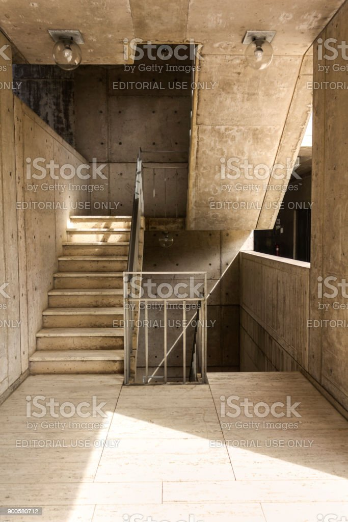 The staircase in the Salk Institute for Biological Studies (UCSD). stock photo