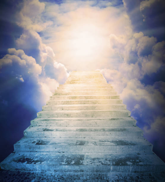 The Stairs to heaven. Way for a salvation . Religion metaphor. stock photo