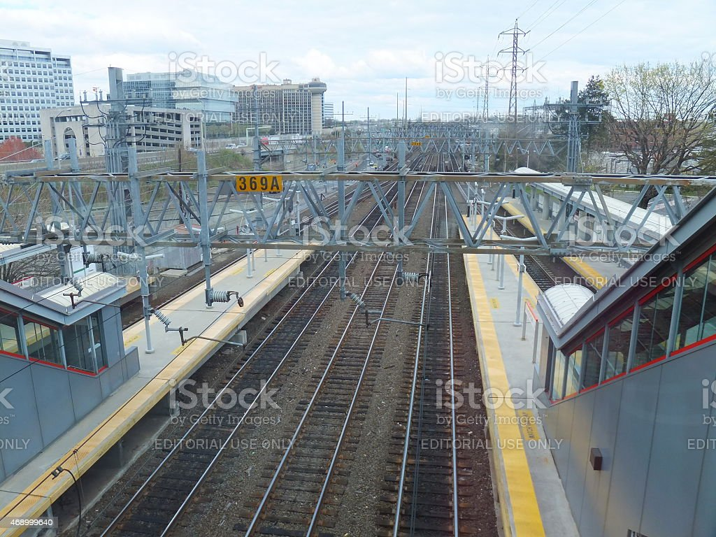 The Stamford Metro-North Railroad station in Connecticut stock photo