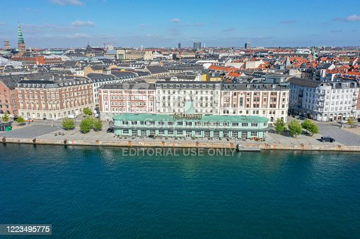 Copenhagen, Denmark - May 7, 2020: Aerial drone view of The Standard, a restaurant complex in the former custom authorities building.