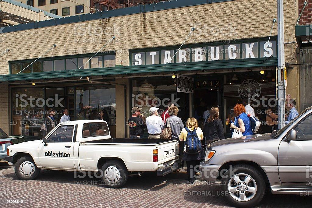 The Starbucks store at 1912 Pike Place, Seattle, Washington, US royalty-free stock photo