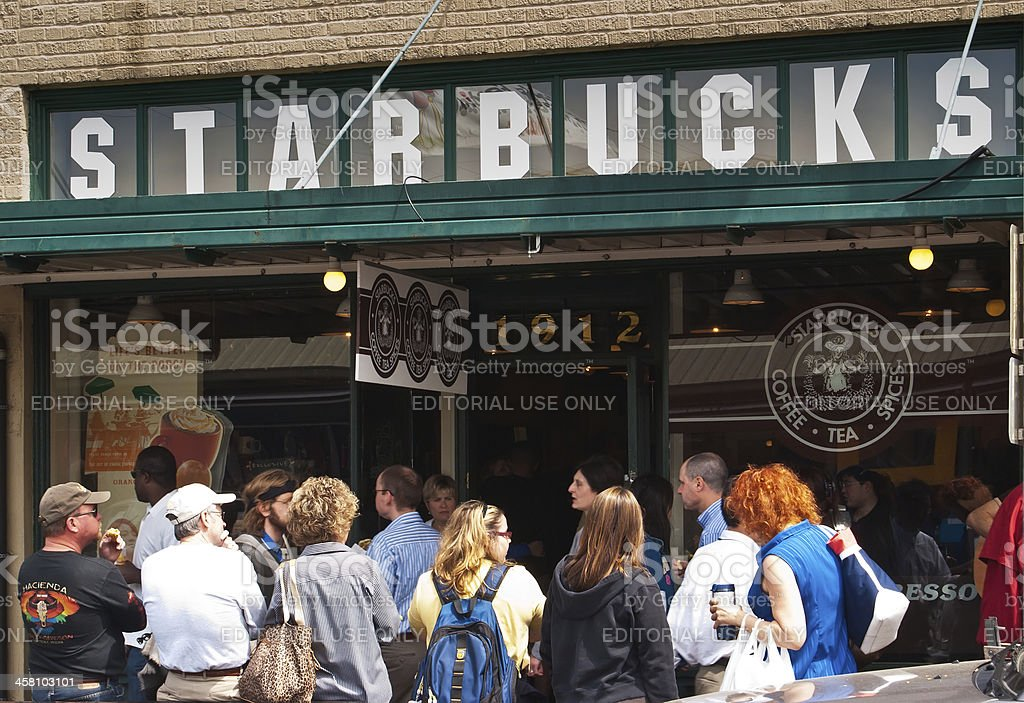 The Starbucks store at 1912 Pike Place, Seattle, Washington, US stock photo