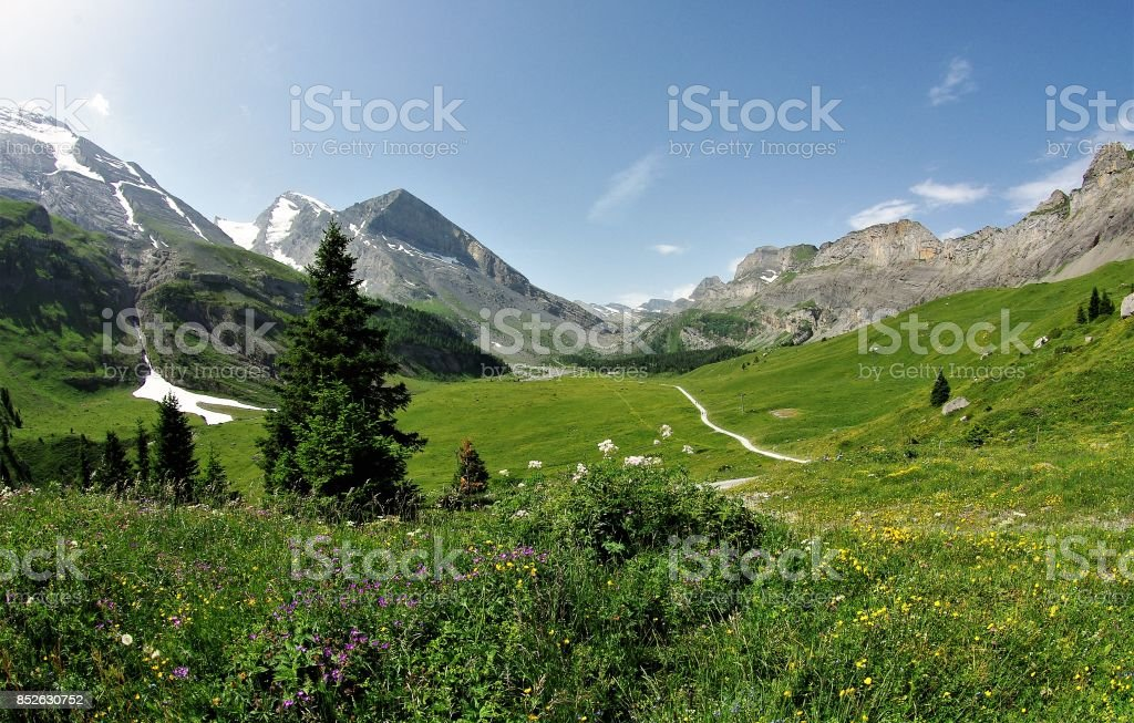 The Stark Natural Beauty of the Gemmi Pass and the Wallis Alps, Switzerland stock photo