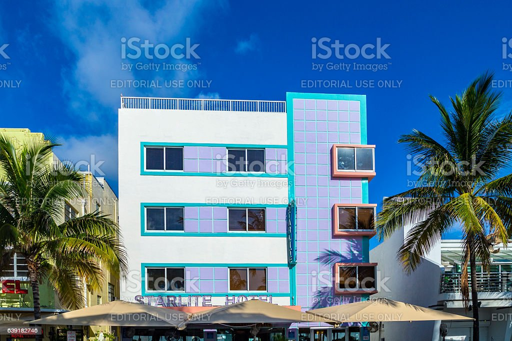 The Starlite hotel at ocean drive stock photo