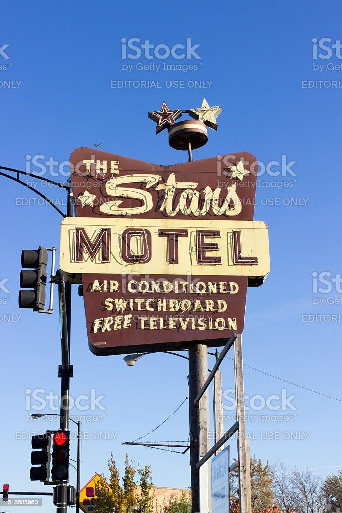 The Stars Motel Sign, Chicago, Illinois stock photo