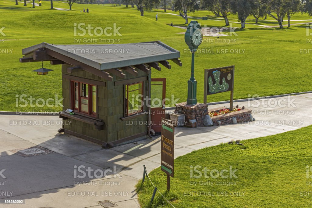 The starters shack on the first tee of Torrey Pines golf course near San Diego. stock photo
