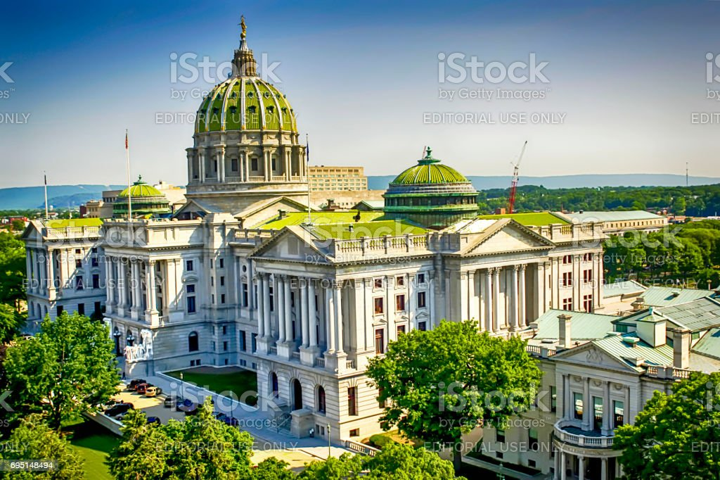 The State Capitol building in downtown Harrisburg, Pennsylvania USA stock photo