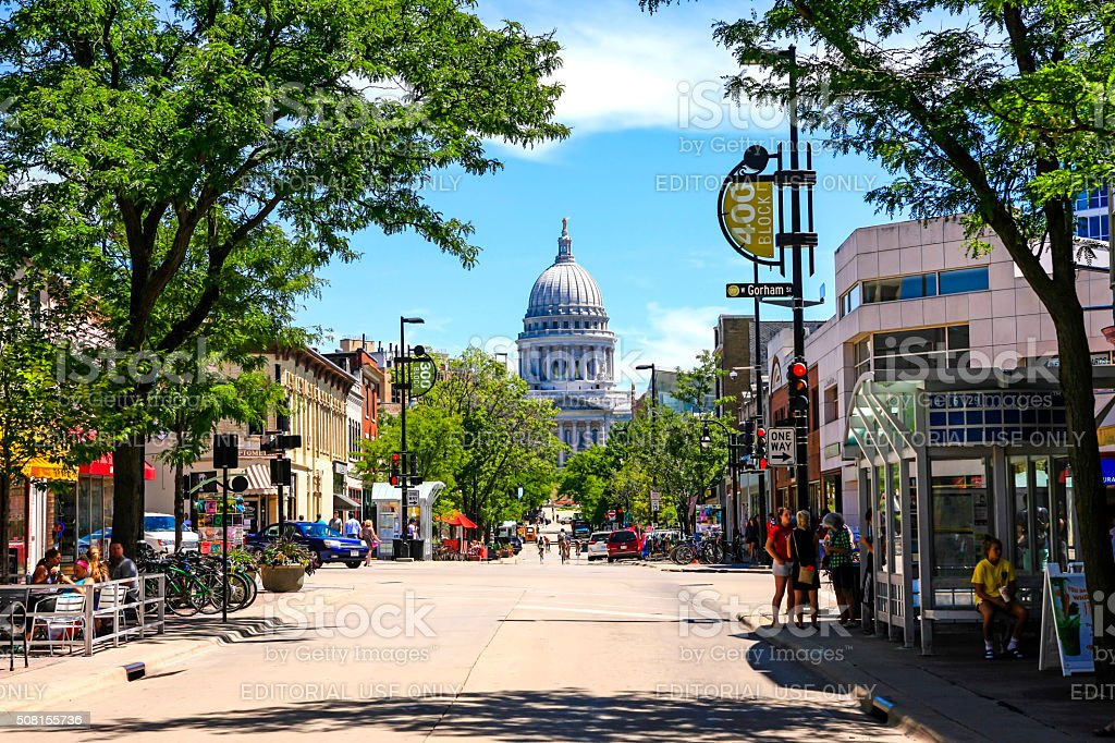 The State Capitol building in Madison Wisconsin Madison, WI, USA - July 29, 2015: View of State street looking towards the State Capitol building in Madison Wisconsin Architectural Dome Stock Photo