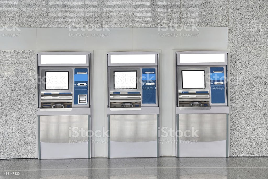 The station automatic machines, ATM machine stock photo