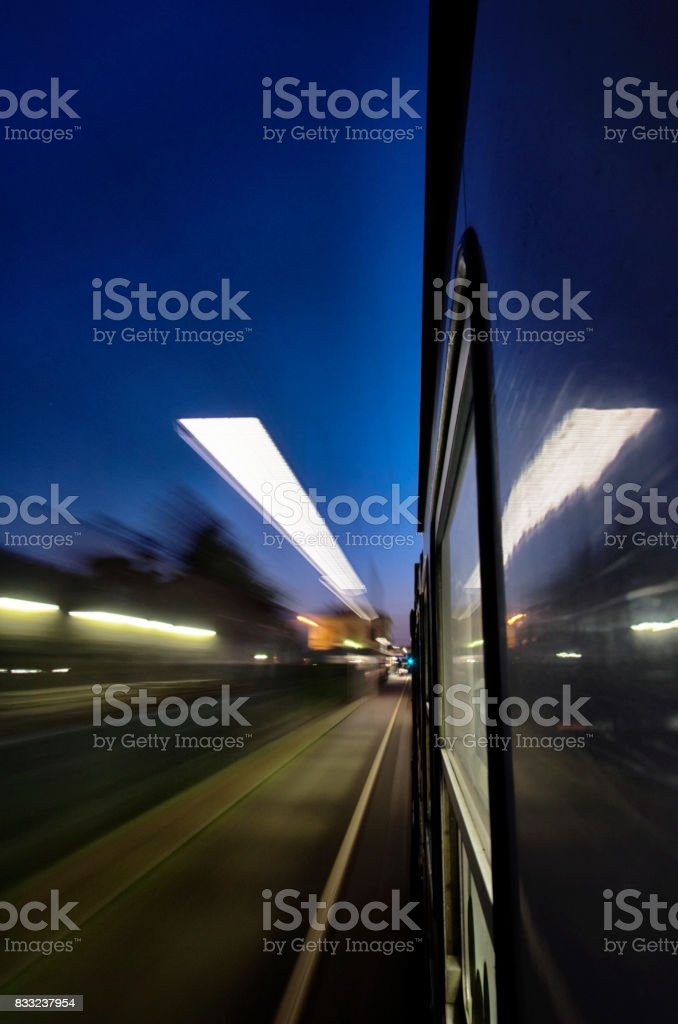 The station lights from a train stock photo