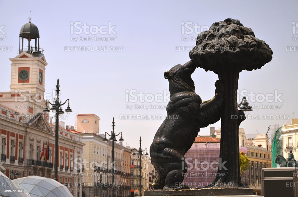 The statue of bear and strawberry tree in Madrid, Spain stock photo