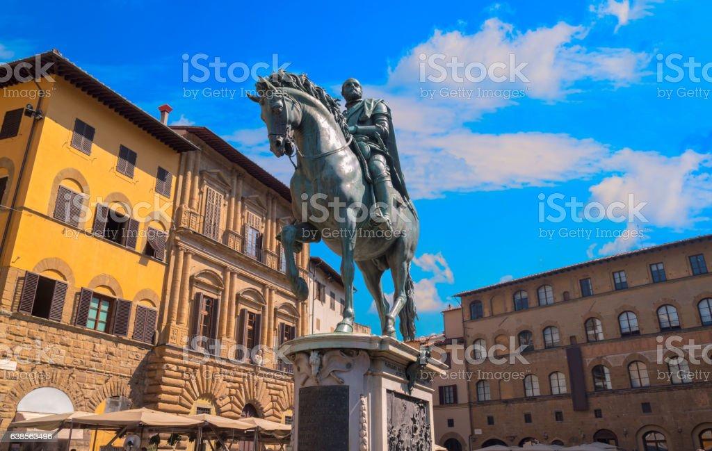 The statue of Cosimo I de Medici on Piazza stock photo