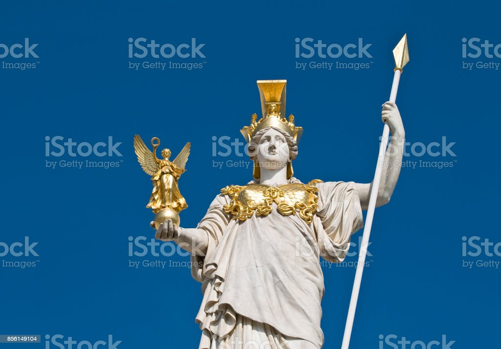 The statue of goddess Athena in front of the Austrian parliament in Vienna. stock photo