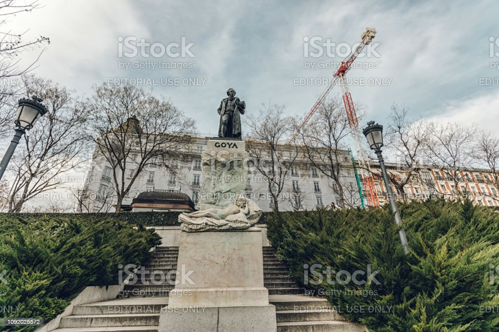 the statue of Goya in Madrid stock photo