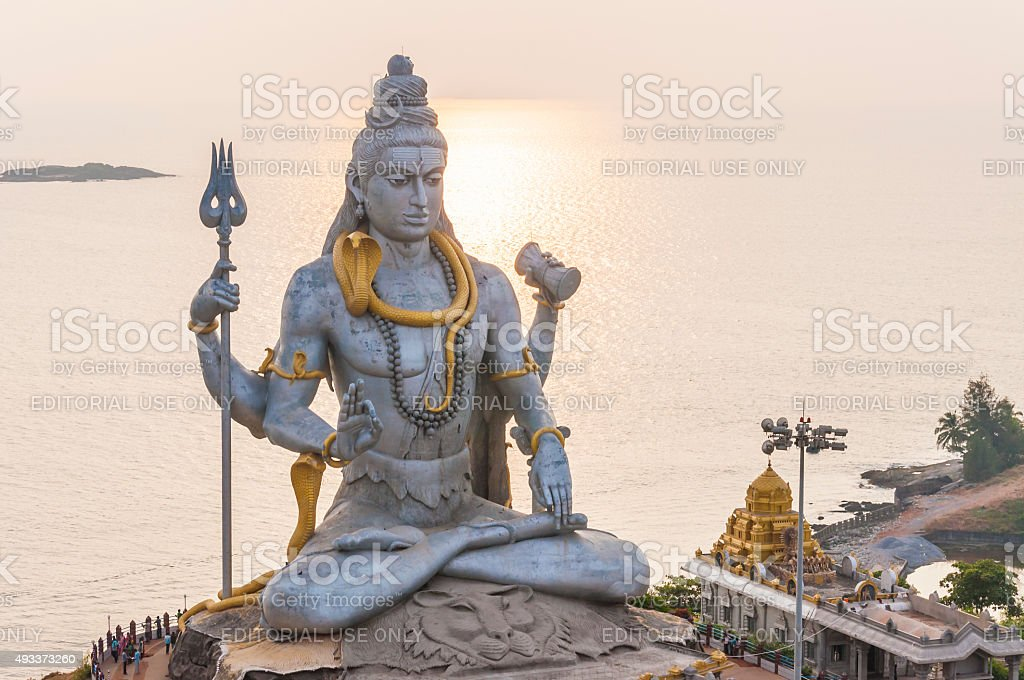 The statue of great Lord Shiva in Murudeshwar Temple. stock photo
