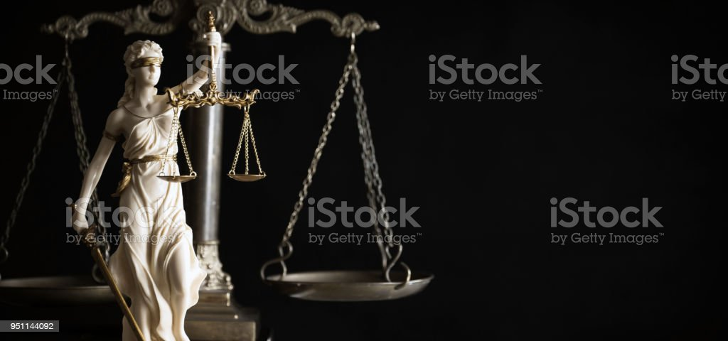 The Statue of Justice. Lady justice or Iustitia stock photo