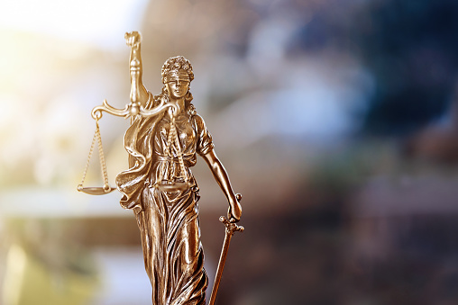 The Statue of Justice - lady justice or Justitia / Justitia the Roman goddess of Justice