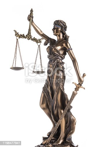 The statue of justice Themis or Justitia isolated on white background