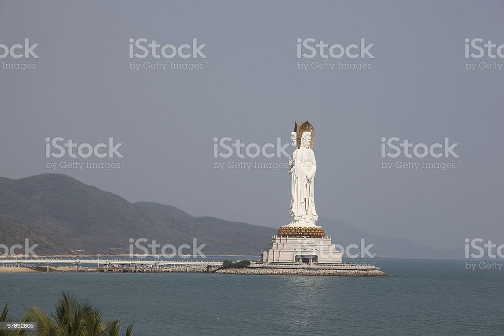 The statue of kwan-yin in nanshan temple royalty-free stock photo