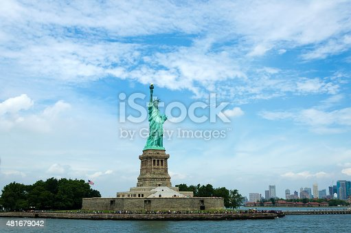 The Statue of Liberty in New York City, United States. Color image in hirizontal orientation