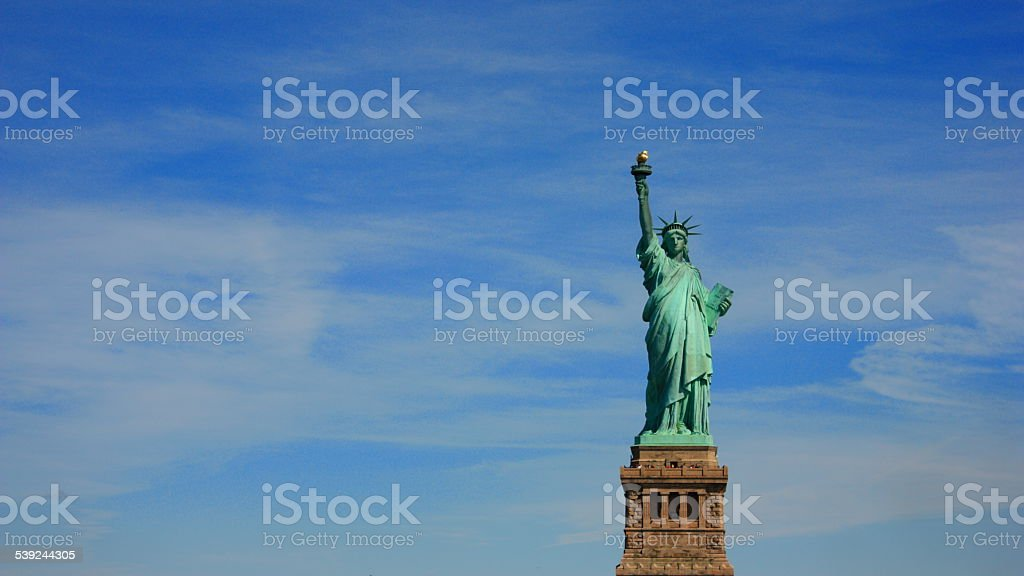 The statue of liberty in the Sky. royalty-free stock photo