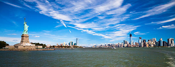 The Statue of Liberty, New York and Jersey City stock photo