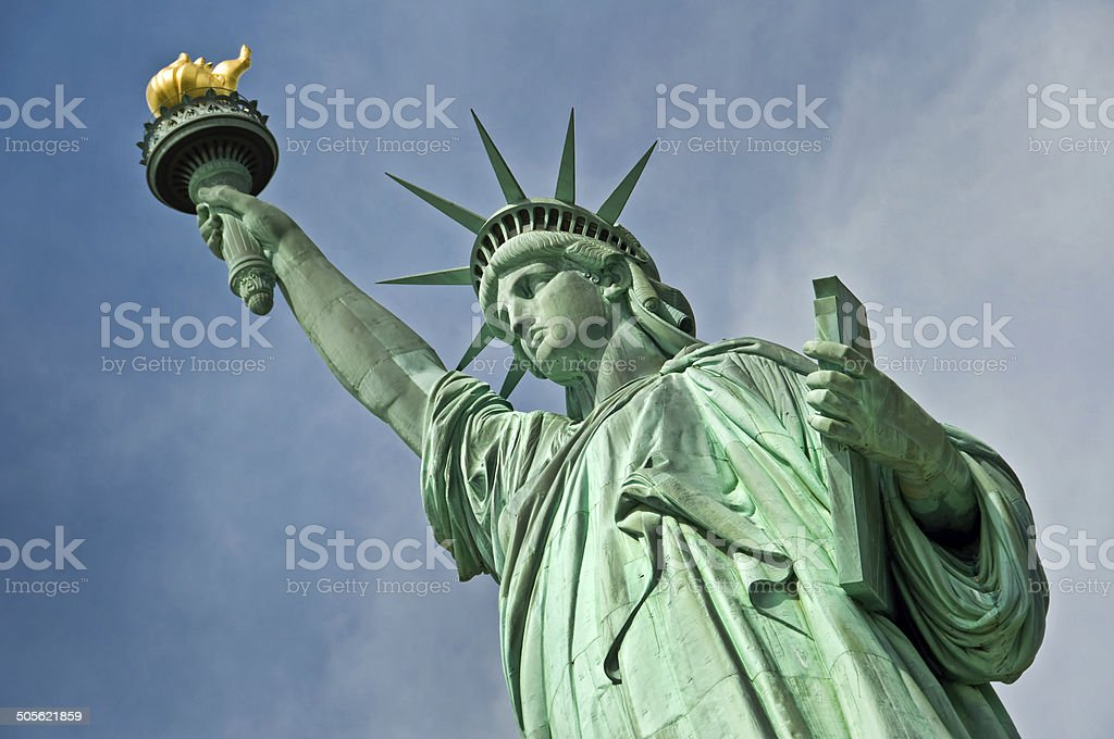 The statue of liberty, New York City, USA Close up of the statue of liberty, New York City, USA Blue Stock Photo