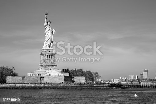 The Statue of Liberty in New York, USA. (black and white)
