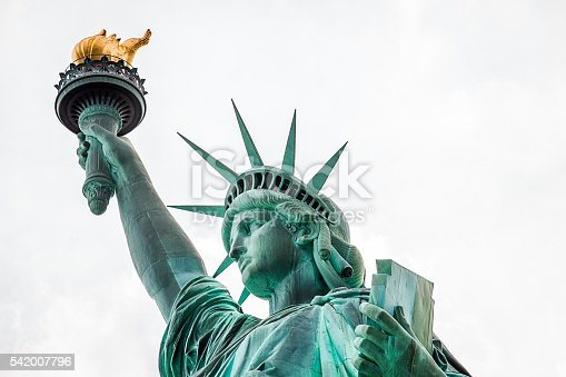 Up close shot of the Statue of Liberty