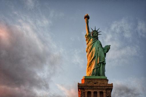 Lady Liberty amongst the clouds