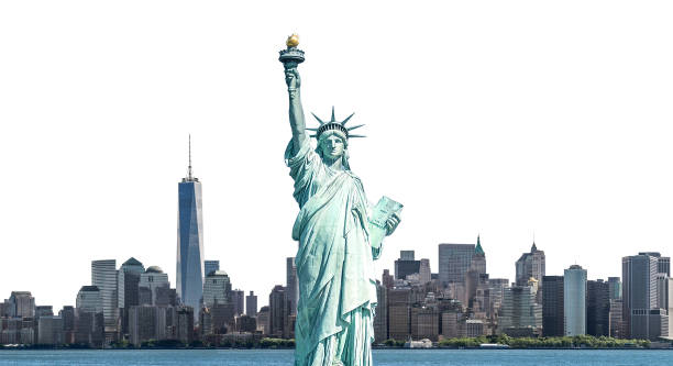 The Statue of Liberty with high-rise building in Lower Manhattan, New York City stock photo