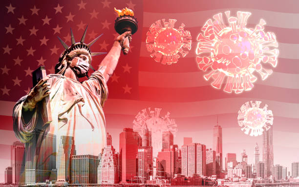 The Statue of Liberty with mask and coronavirus or covid-19 stock photo