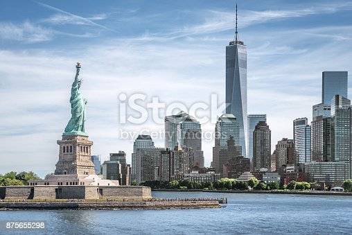 istock The Statue of Liberty with One World Trade Center background, Landmarks of New York City 875655298